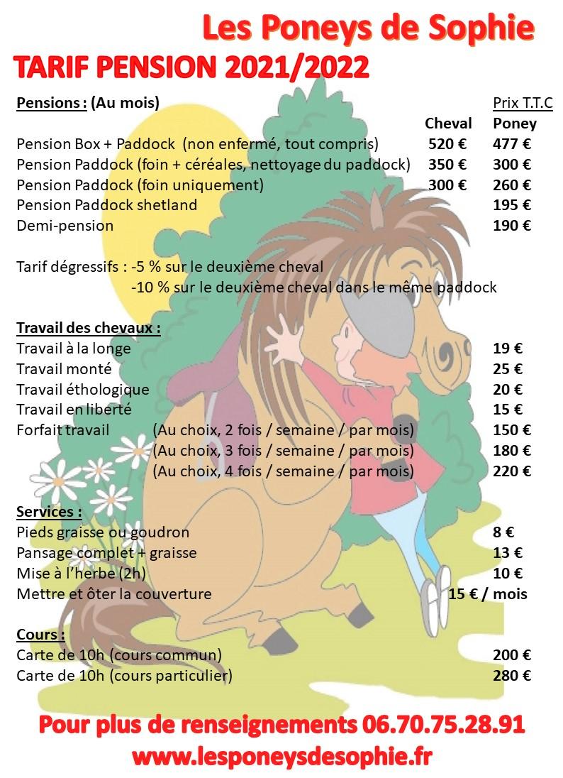 TARIF PENSION 2021 2022
